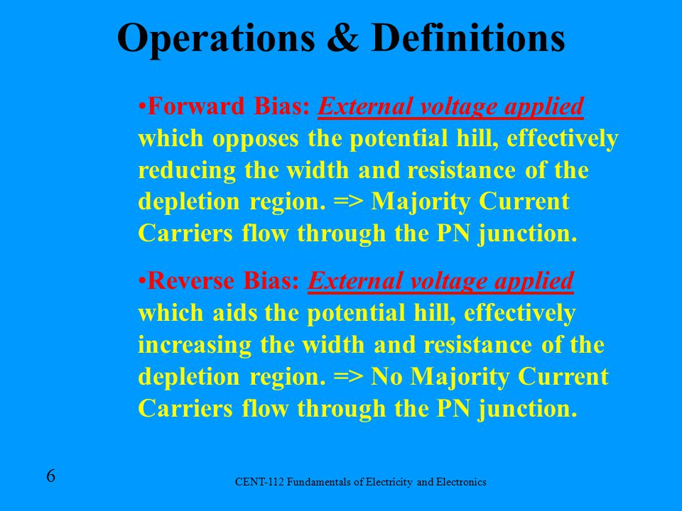 CENT-112 Fundamentals of Electricity and Electronics 5 Potential Hill (Junction Barrier) : Electrostatic field set up across a PN junction which prevents further combination of majority current carriers.
