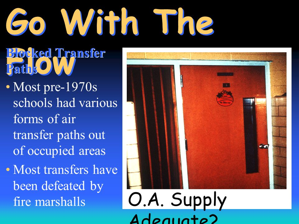 O.A. Supply Adequate? Go With The Flow Blocked Transfer Paths Most pre-1970s schools had various forms of air transfer paths out of occupied areas Mos