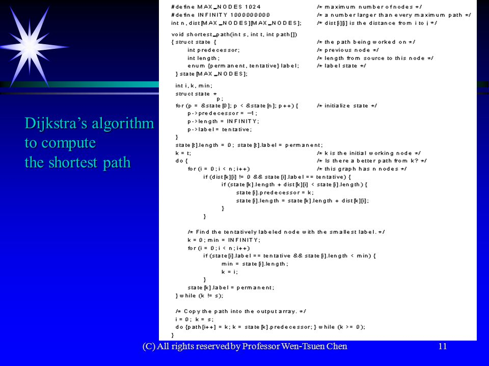 (C) All rights reserved by Professor Wen-Tsuen Chen11 Dijkstra's algorithm to compute the shortest path