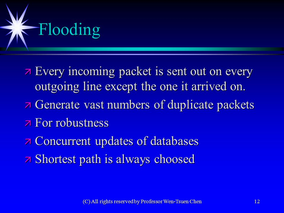 (C) All rights reserved by Professor Wen-Tsuen Chen12 Flooding ä Every incoming packet is sent out on every outgoing line except the one it arrived on.