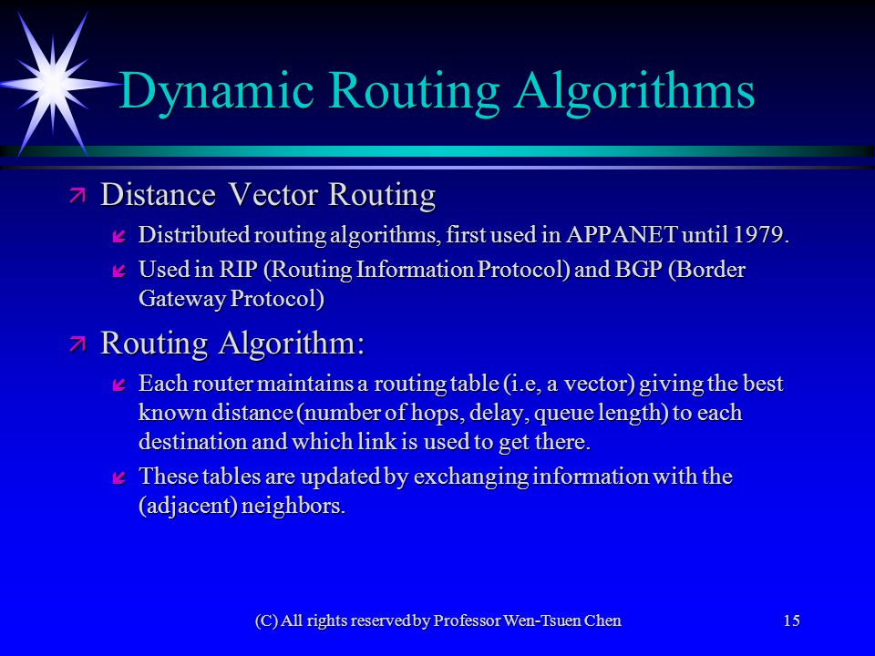(C) All rights reserved by Professor Wen-Tsuen Chen15 Dynamic Routing Algorithms ä Distance Vector Routing í Distributed routing algorithms, first use