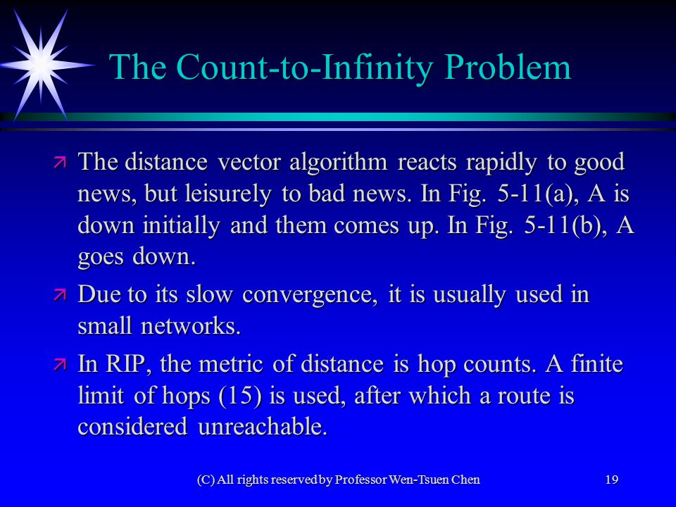 (C) All rights reserved by Professor Wen-Tsuen Chen19 ä The distance vector algorithm reacts rapidly to good news, but leisurely to bad news. In Fig.