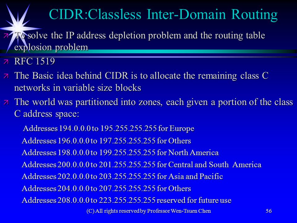 (C) All rights reserved by Professor Wen-Tsuen Chen56 CIDR:Classless Inter-Domain Routing ä To solve the IP address depletion problem and the routing
