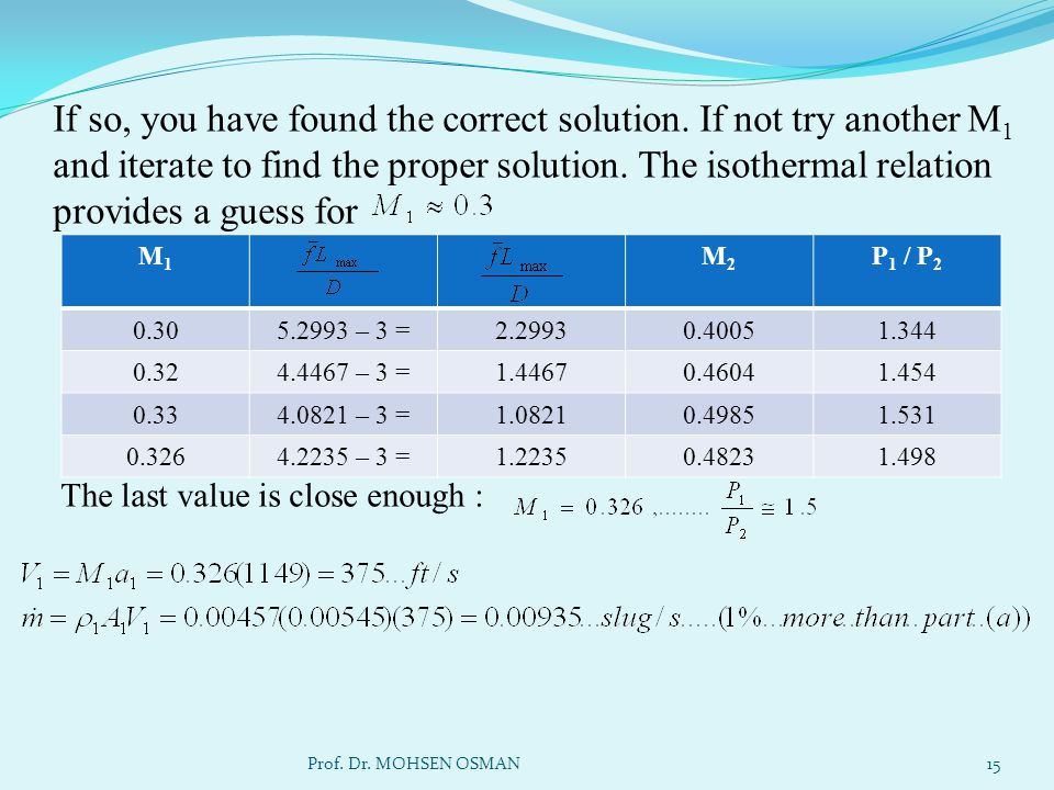 If so, you have found the correct solution. If not try another M 1 and iterate to find the proper solution. The isothermal relation provides a guess f
