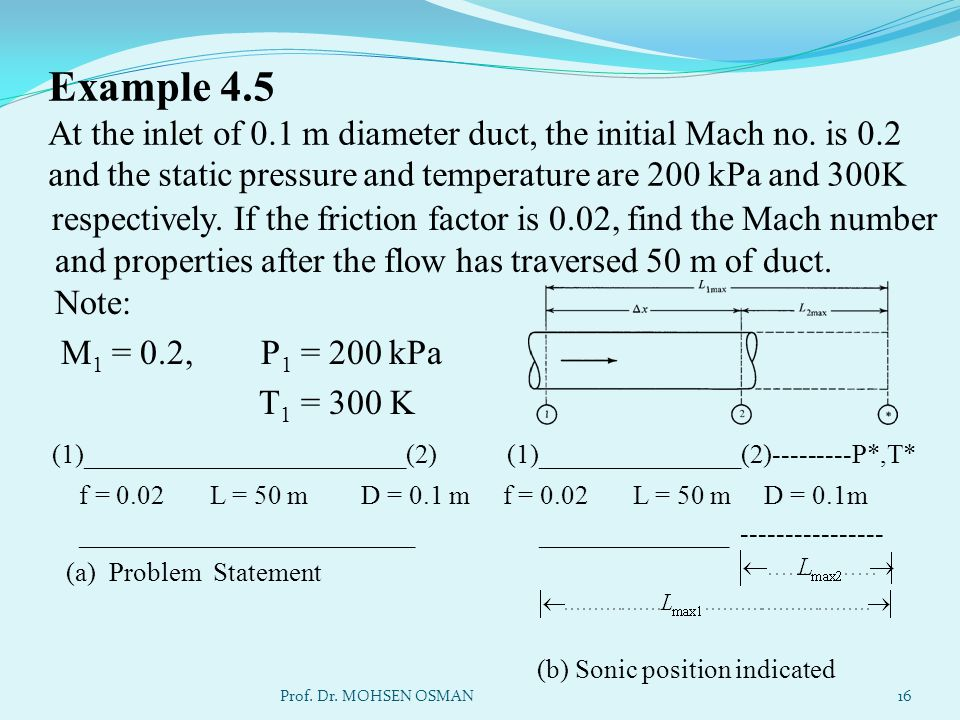 Example 4.5 At the inlet of 0.1 m diameter duct, the initial Mach no. is 0.2 and the static pressure and temperature are 200 kPa and 300K respectively