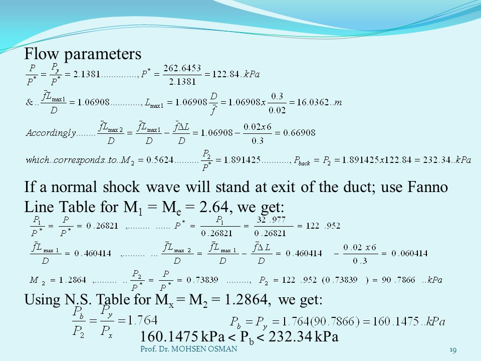 Flow parameters If a normal shock wave will stand at exit of the duct; use Fanno Line Table for M 1 = M e = 2.64, we get: Using N.S. Table for M x = M