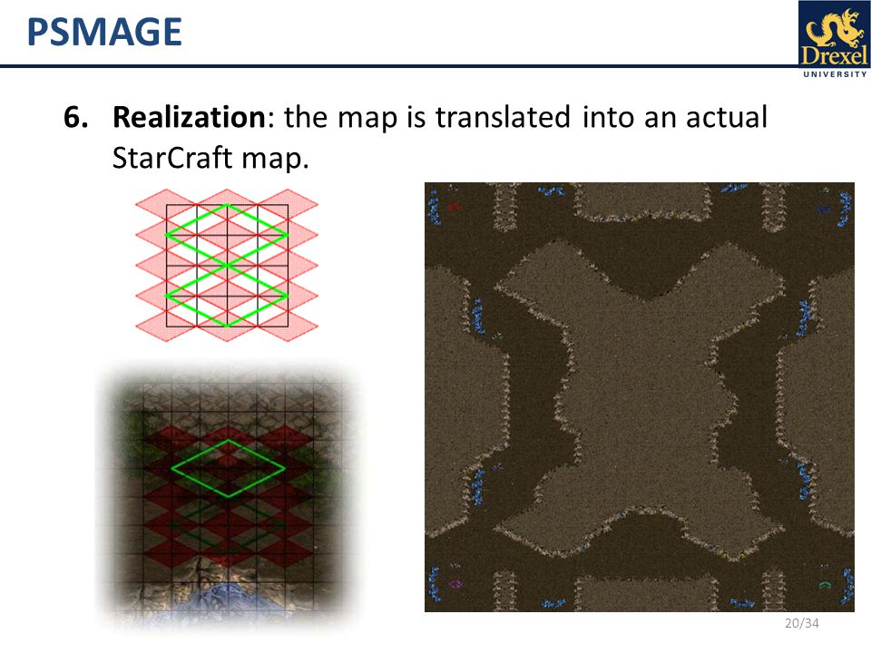 20/34 PSMAGE 6.Realization: the map is translated into an actual StarCraft map.