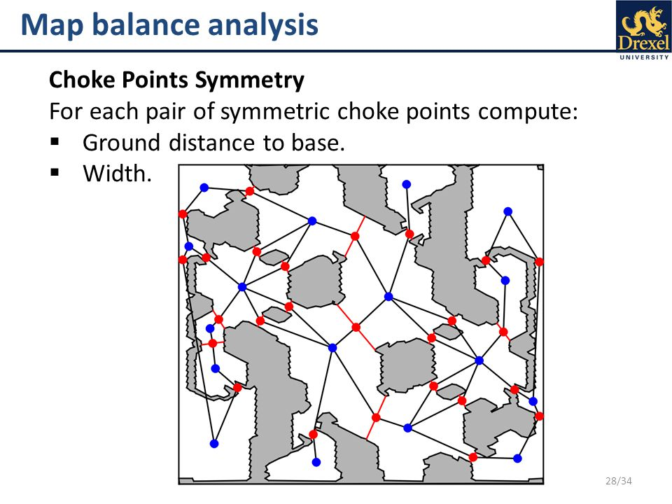 28/34 Map balance analysis Choke Points Symmetry For each pair of symmetric choke points compute:  Ground distance to base.