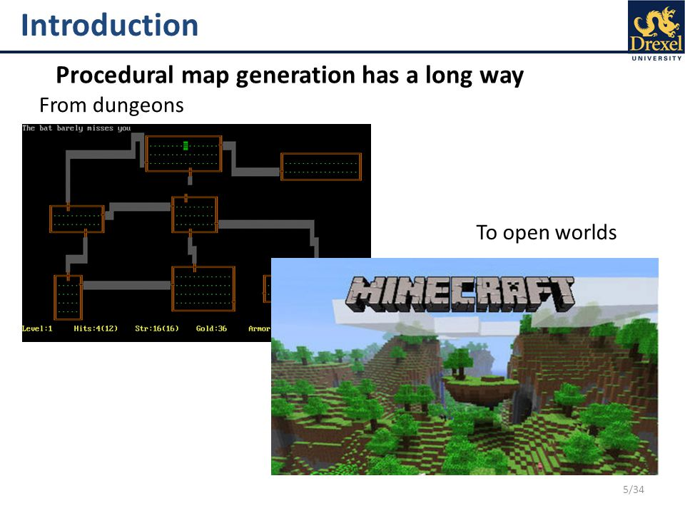 5/34 Introduction Procedural map generation has a long way From dungeons To open worlds