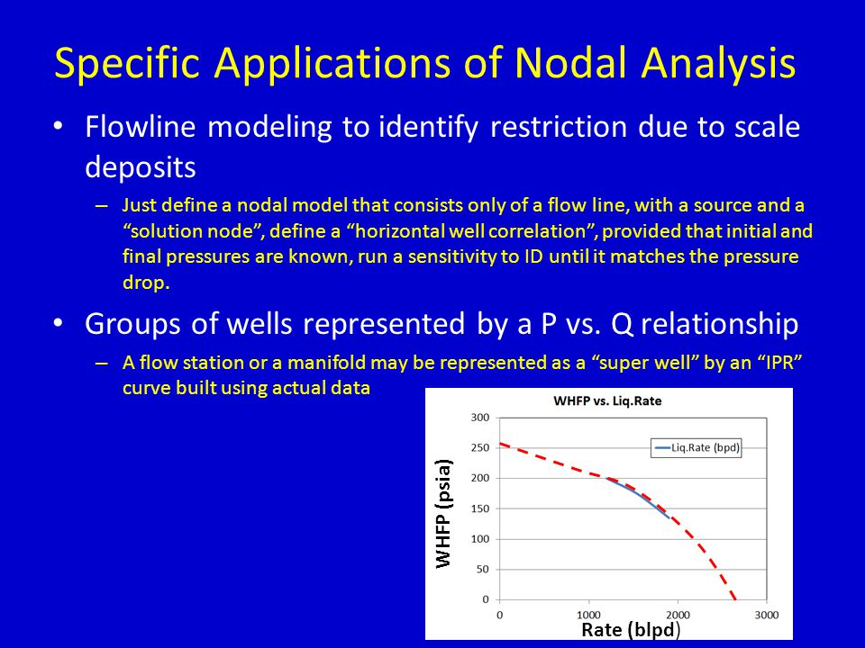 Specific Applications of Nodal Analysis Flowline modeling to identify restriction due to scale deposits – Just define a nodal model that consists only of a flow line, with a source and a solution node , define a horizontal well correlation , provided that initial and final pressures are known, run a sensitivity to ID until it matches the pressure drop.