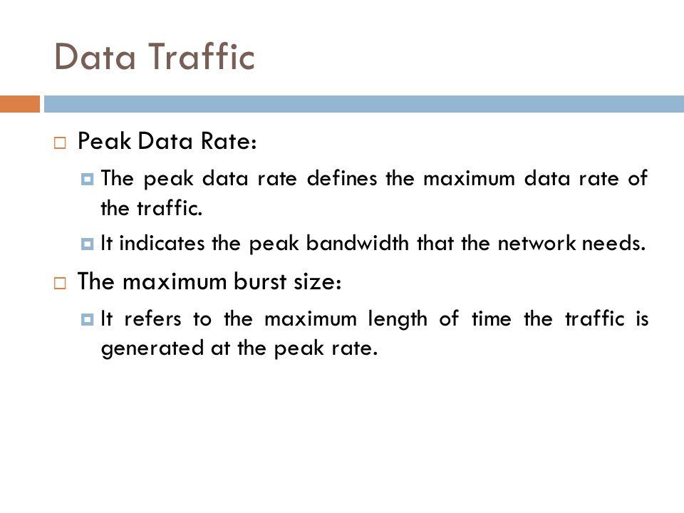 Data Traffic  Peak Data Rate:  The peak data rate defines the maximum data rate of the traffic.  It indicates the peak bandwidth that the network n