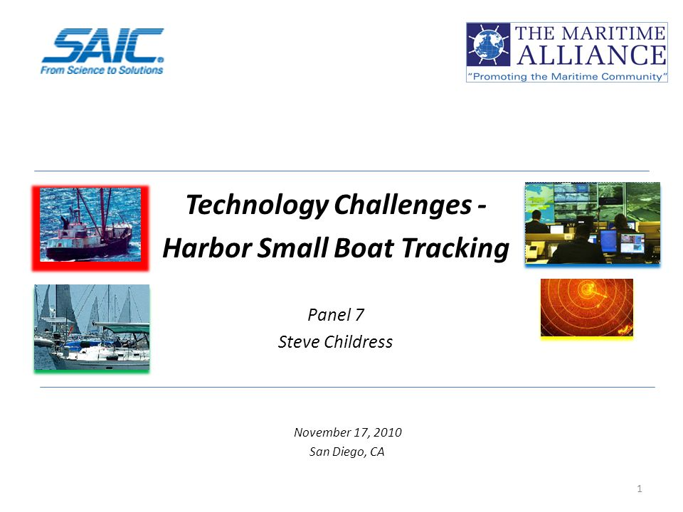 Technology Challenges - Harbor Small Boat Tracking Panel 7 Steve Childress November 17, 2010 San Diego, CA 1