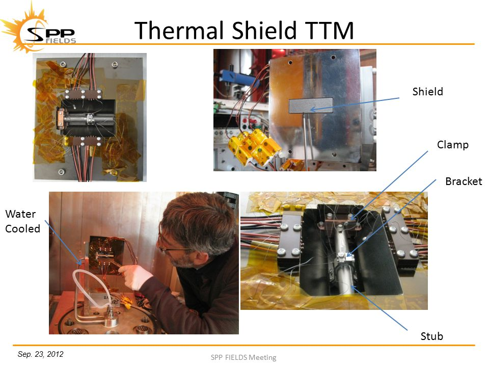 Sep. 23, 2012 SPP FIELDS Meeting Thermal Shield TTM Shield Clamp Bracket Stub Water Cooled