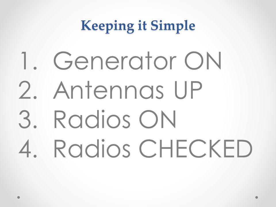 Keeping it Simple 1.Generator ON 2.Antennas UP 3.Radios ON 4.Radios CHECKED