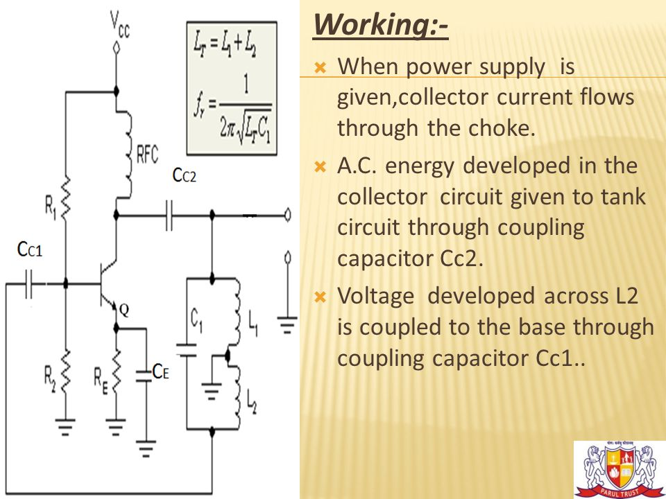 Working:-  When power supply is given,collector current flows through the choke.  A.C. energy developed in the collector circuit given to tank circu