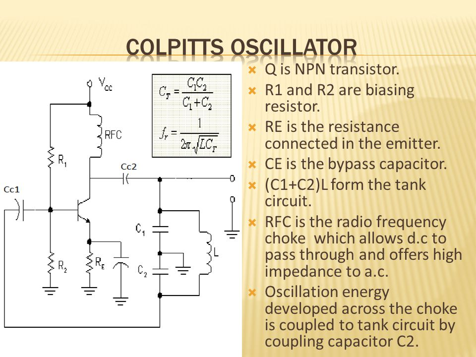  Q is NPN transistor.  R1 and R2 are biasing resistor.  RE is the resistance connected in the emitter.  CE is the bypass capacitor.  (C1+C2)L for