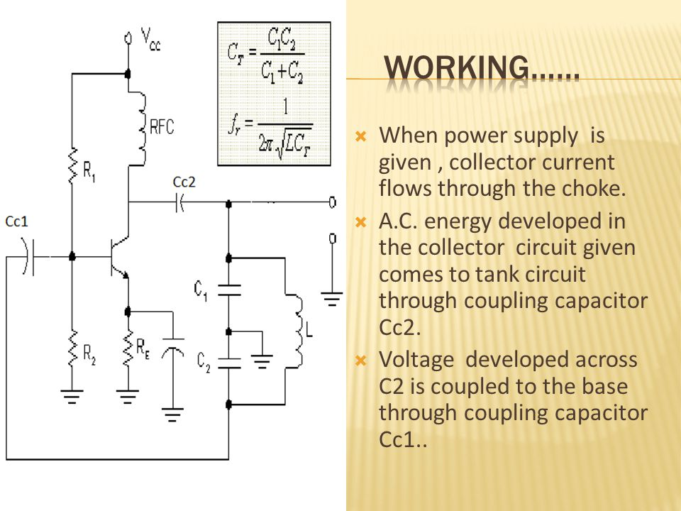  When power supply is given, collector current flows through the choke.