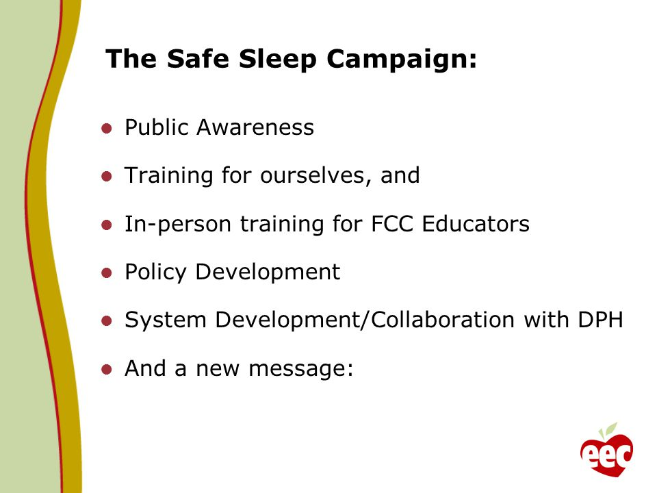 The Safe Sleep Campaign: Public Awareness Training for ourselves, and In-person training for FCC Educators Policy Development System Development/Collaboration with DPH And a new message: