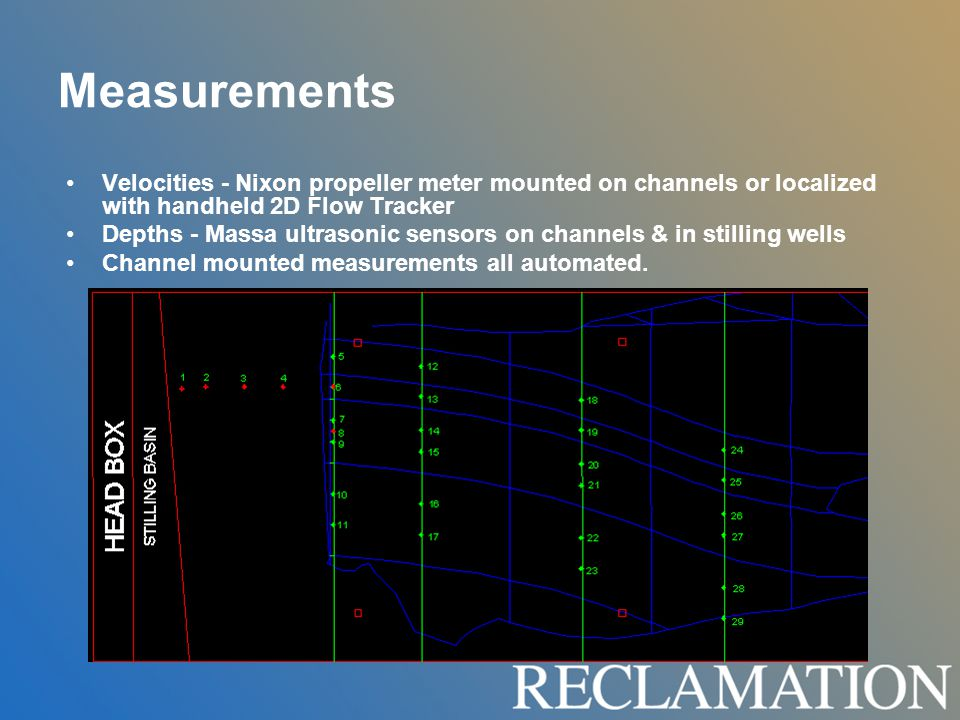 Measurements Velocities - Nixon propeller meter mounted on channels or localized with handheld 2D Flow Tracker Depths - Massa ultrasonic sensors on channels & in stilling wells Channel mounted measurements all automated.