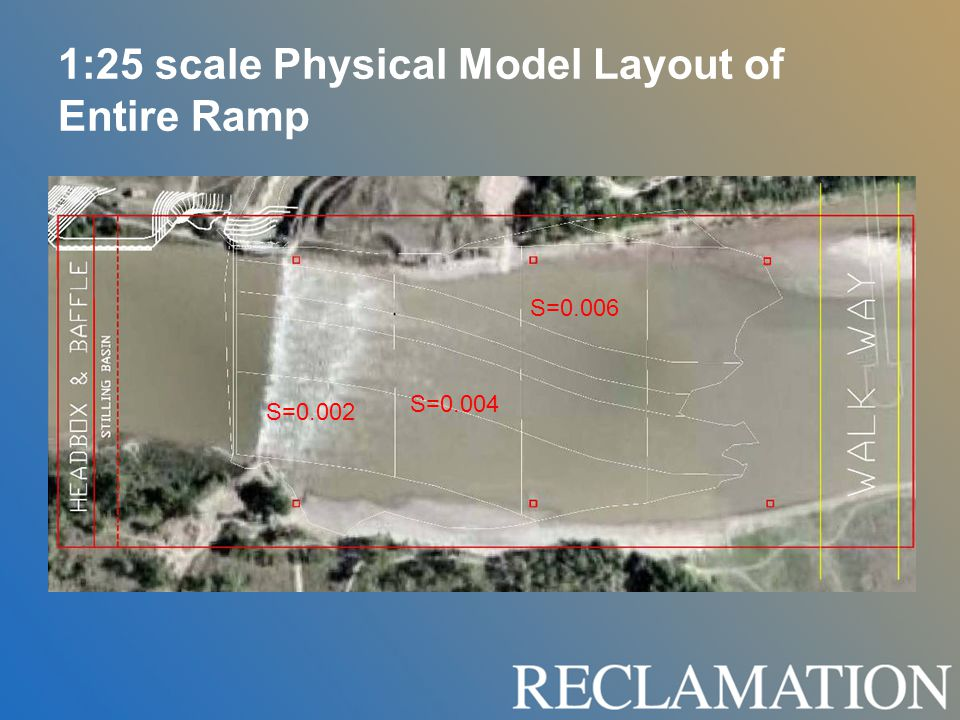 1:25 scale Physical Model Layout of Entire Ramp S=0.002 S=0.004 S=0.006