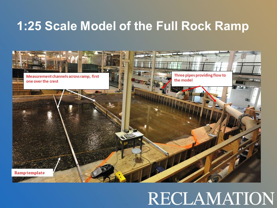 1:25 Scale Model of the Full Rock Ramp Three pipes providing flow to the model Measurement channels across ramp, first one over the crest Ramp template