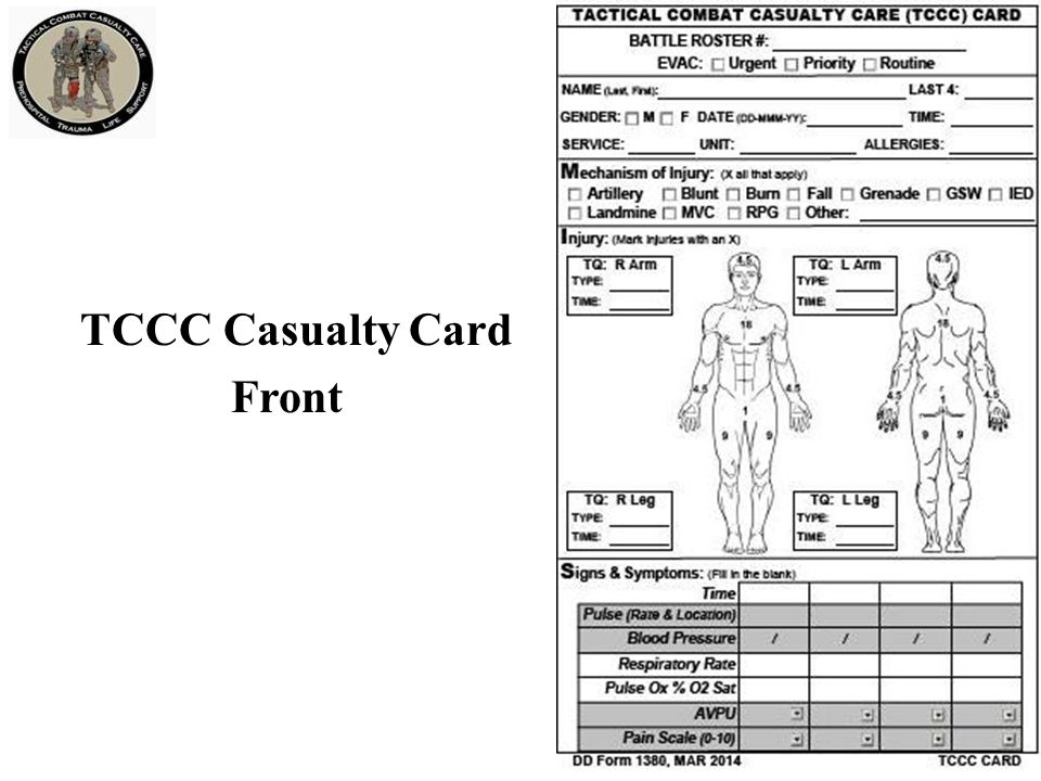 TCCC Casualty Card Back