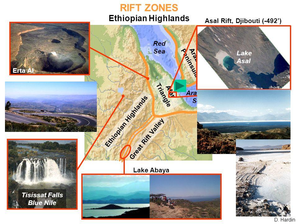 RIFT ZONES Ethiopian Highlands Afar Triangle Arabian Peninsula Great Rift Valley Red Sea Arabian Sea Tisissat Falls Blue Nile Lake Abaya Erta Al Asal Rift, Djibouti (-492') Lake Asal Ethiopian Highlands D.