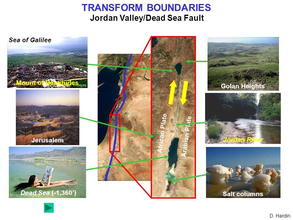 TRANSFORM BOUNDARIES Jordan Valley/Dead Sea Fault African Plate Arabian Plate Jerusalem Dead Sea (-1,360') Mount of Beatitudes Sea of Galilee Golan Heights Jordan River Salt columns