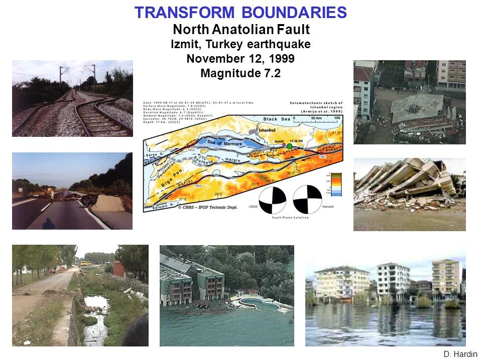 TRANSFORM BOUNDARIES North Anatolian Fault Izmit, Turkey earthquake November 12, 1999 Magnitude 7.2 D.