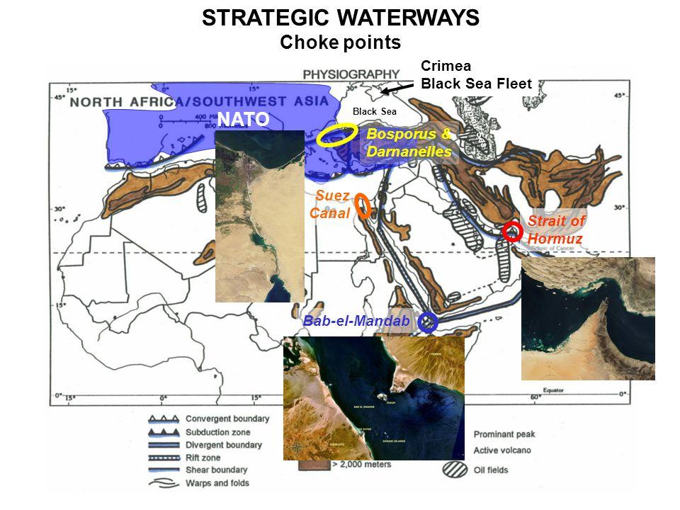 NATO Mediterranean Sea Arabian Sea Black Sea Caspian Sea STRATEGIC WATERWAYS Choke points Bosporus & Darnanelles Suez Canal Bab-el-Mandab Strait of Hormuz Crimea Black Sea Fleet