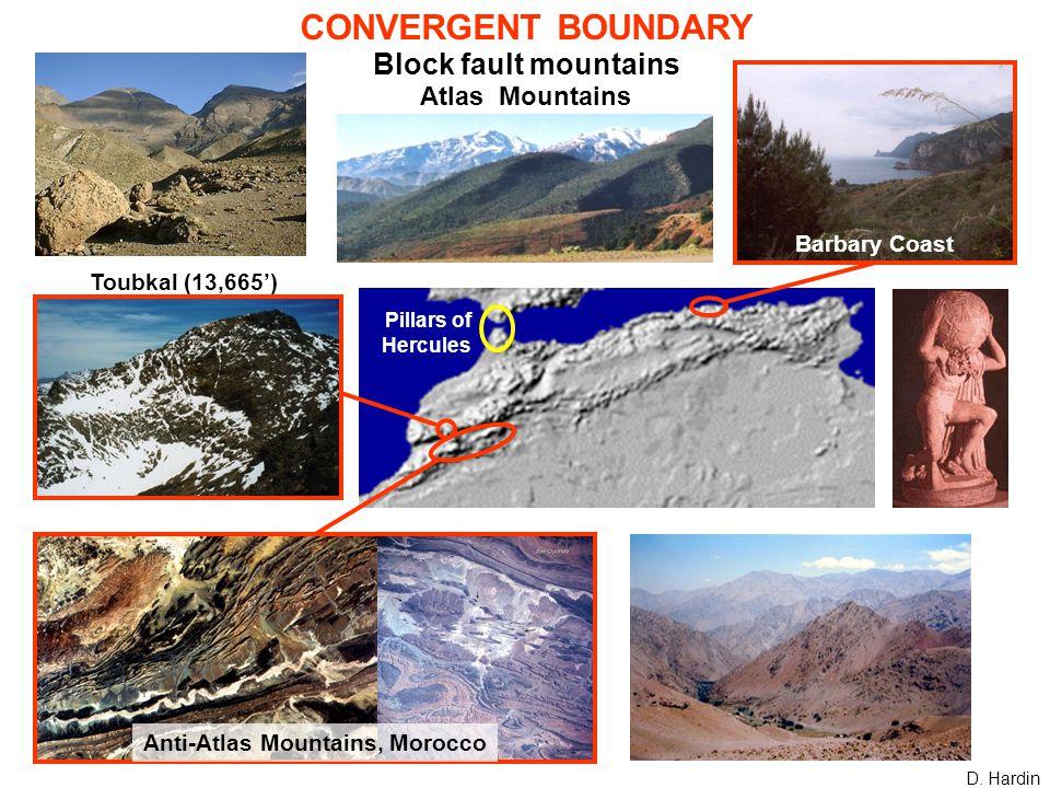 CONVERGENT BOUNDARY Block fault mountains Atlas Mountains D.