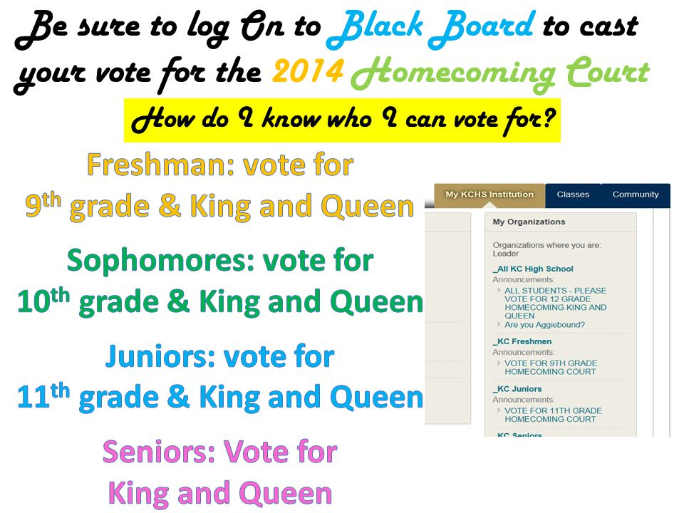 Be sure to log On to Black Board to cast your vote for the 2014 Homecoming Court How do I know who I can vote for?