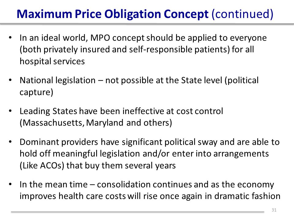 Maximum Price Obligation Concept (continued) In an ideal world, MPO concept should be applied to everyone (both privately insured and self-responsible