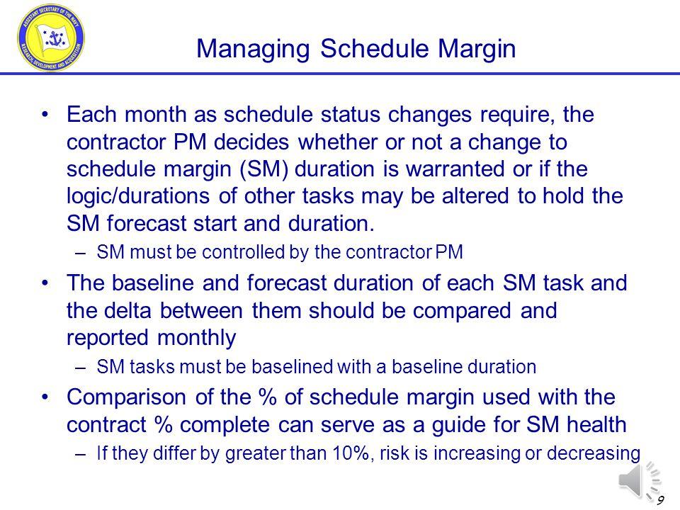 Contract Complete (IMP Event) Schedule Margin gap vs.