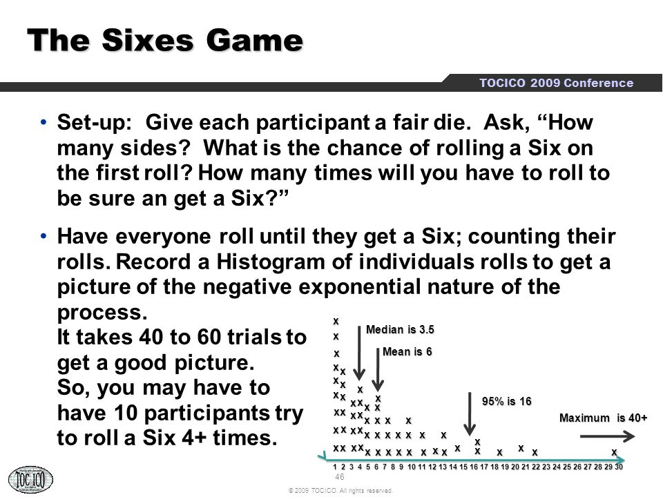 """46 © 2009 TOCICO. All rights reserved. TOCICO 2009 Conference The Sixes Game Set-up: Give each participant a fair die. Ask, """"How many sides? What is t"""