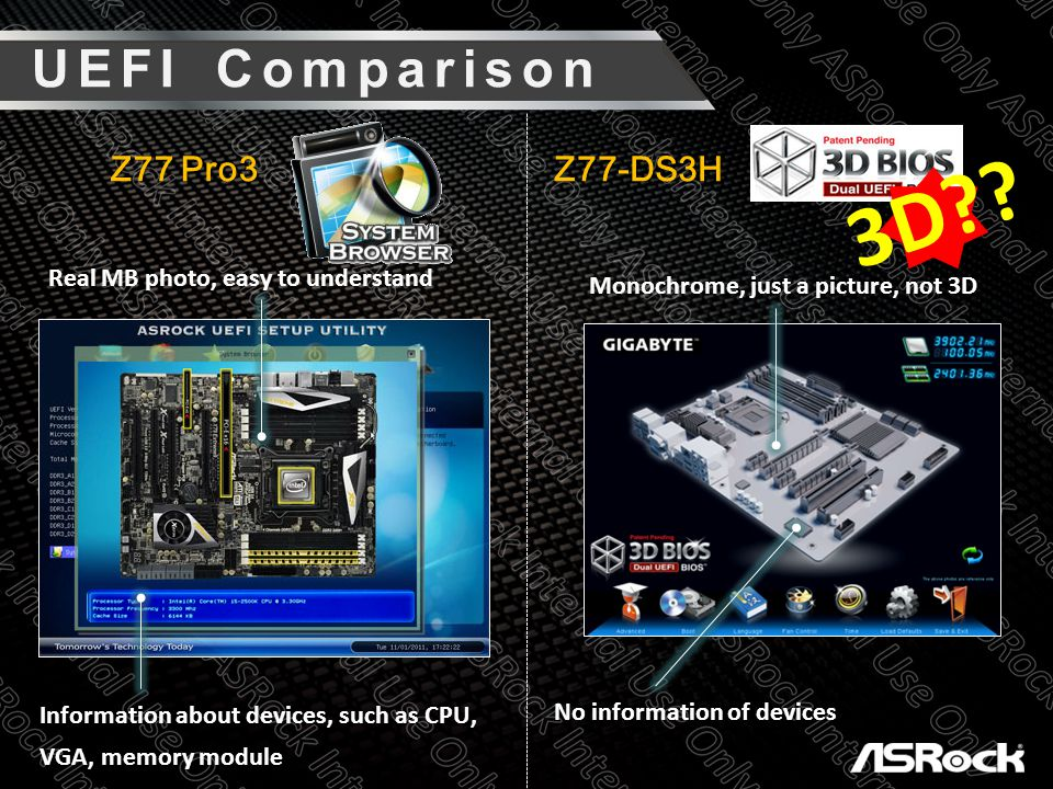 Z77 Pro3 Z77-DS3H 3D?? UEFI Comparison Real MB photo, easy to understand Information about devices, such as CPU, VGA, memory module Monochrome, just a