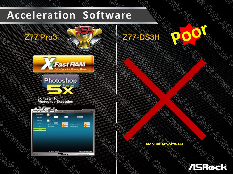 Acceleration Software Z77 Pro3 Z77-DS3H Poor No Similar Software