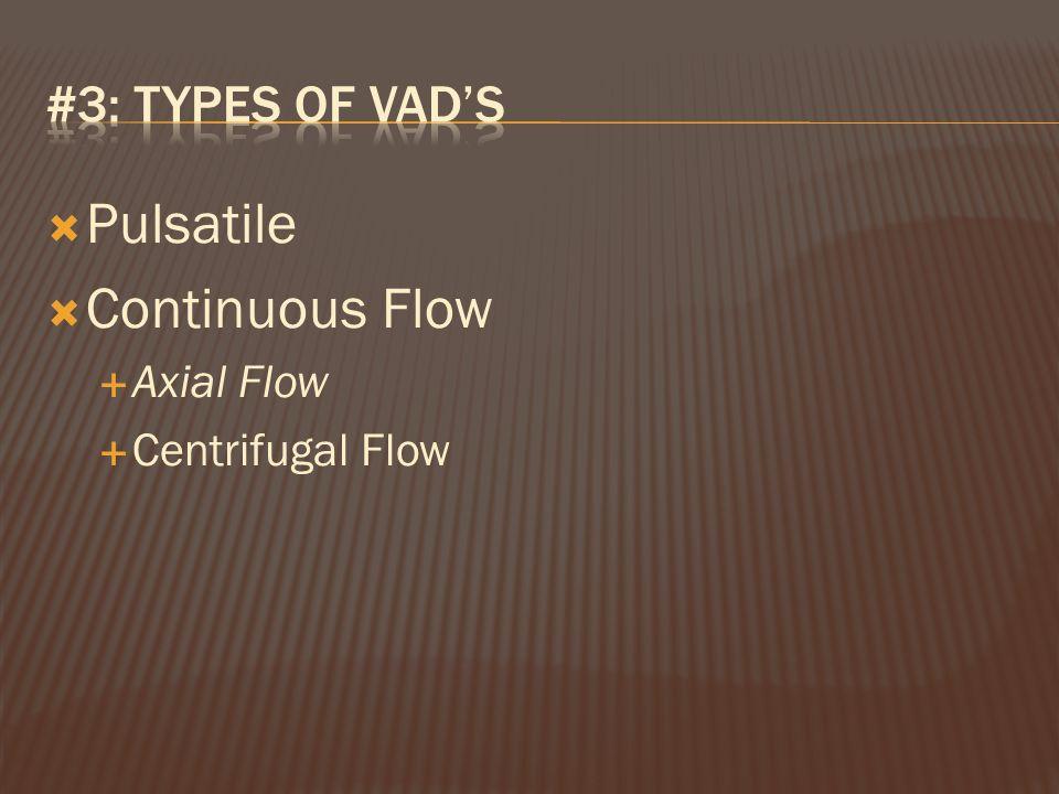  Pulsatile  Continuous Flow  Axial Flow  Centrifugal Flow