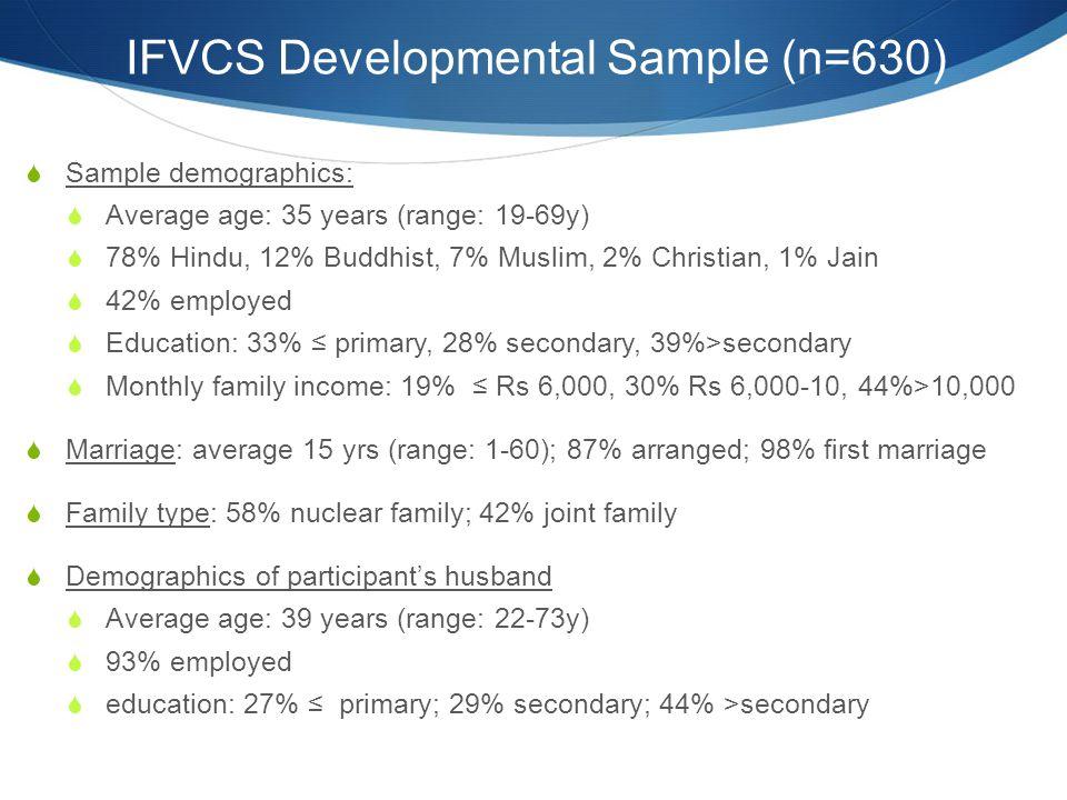 IFVCS Developmental Sample (n=630)  Sample demographics:  Average age: 35 years (range: 19-69y)  78% Hindu, 12% Buddhist, 7% Muslim, 2% Christian,