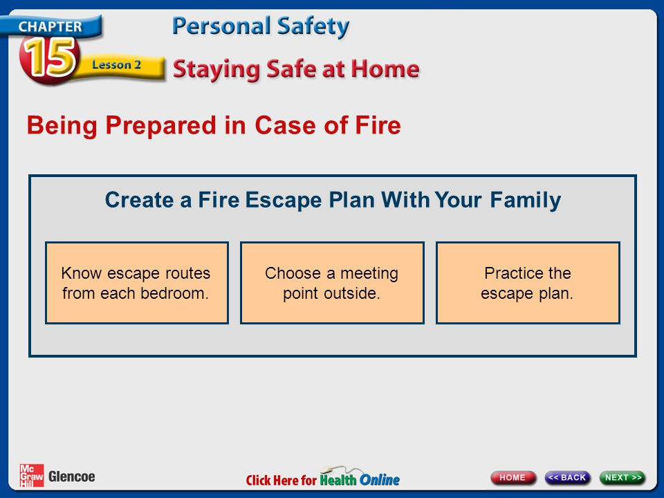 Being Prepared in Case of Fire Create a Fire Escape Plan With Your Family Know escape routes from each bedroom. Choose a meeting point outside. Practi