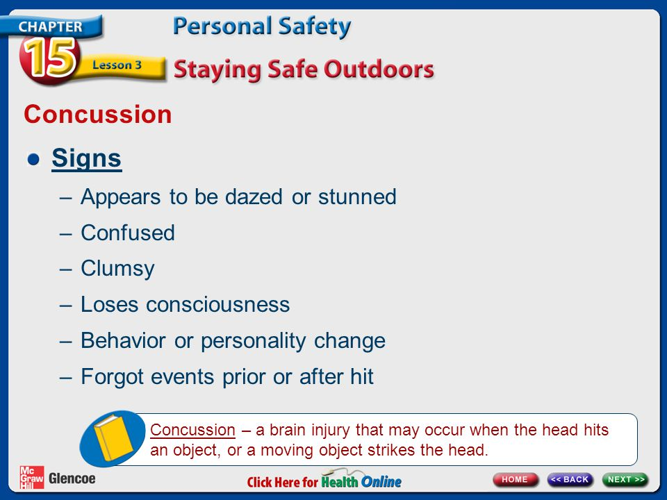 Concussion Signs –Appears to be dazed or stunned –Confused –Clumsy –Loses consciousness –Behavior or personality change –Forgot events prior or after