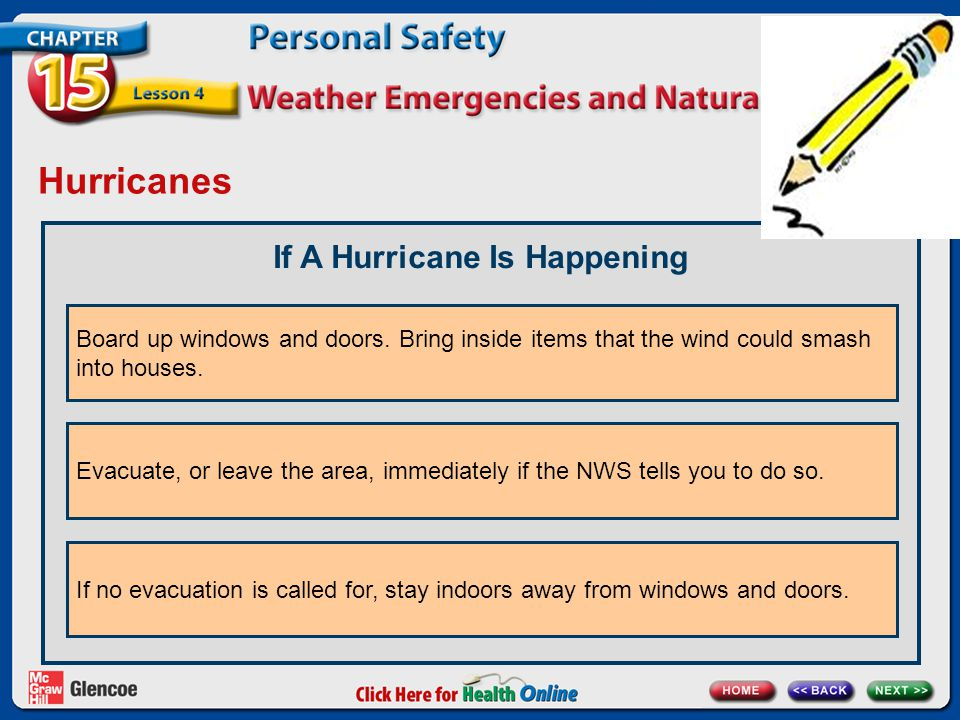 Hurricanes If A Hurricane Is Happening Board up windows and doors. Bring inside items that the wind could smash into houses. Evacuate, or leave the ar
