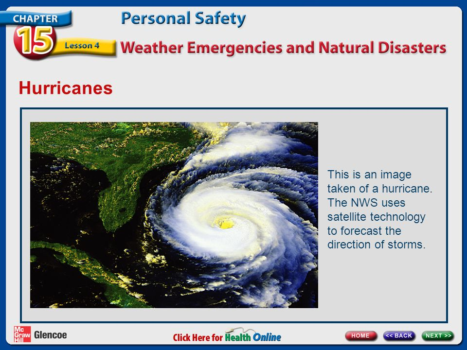 Hurricanes This is an image taken of a hurricane. The NWS uses satellite technology to forecast the direction of storms.