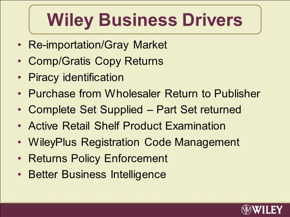Wiley Business Drivers Re-importation/Gray Market Comp/Gratis Copy Returns Piracy identification Purchase from Wholesaler Return to Publisher Complete