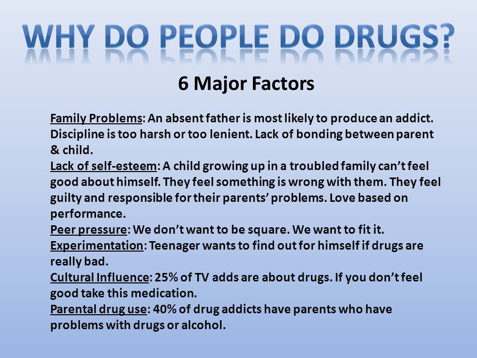 Drug abuse affects the whole family.Children are confused as to what is normal.