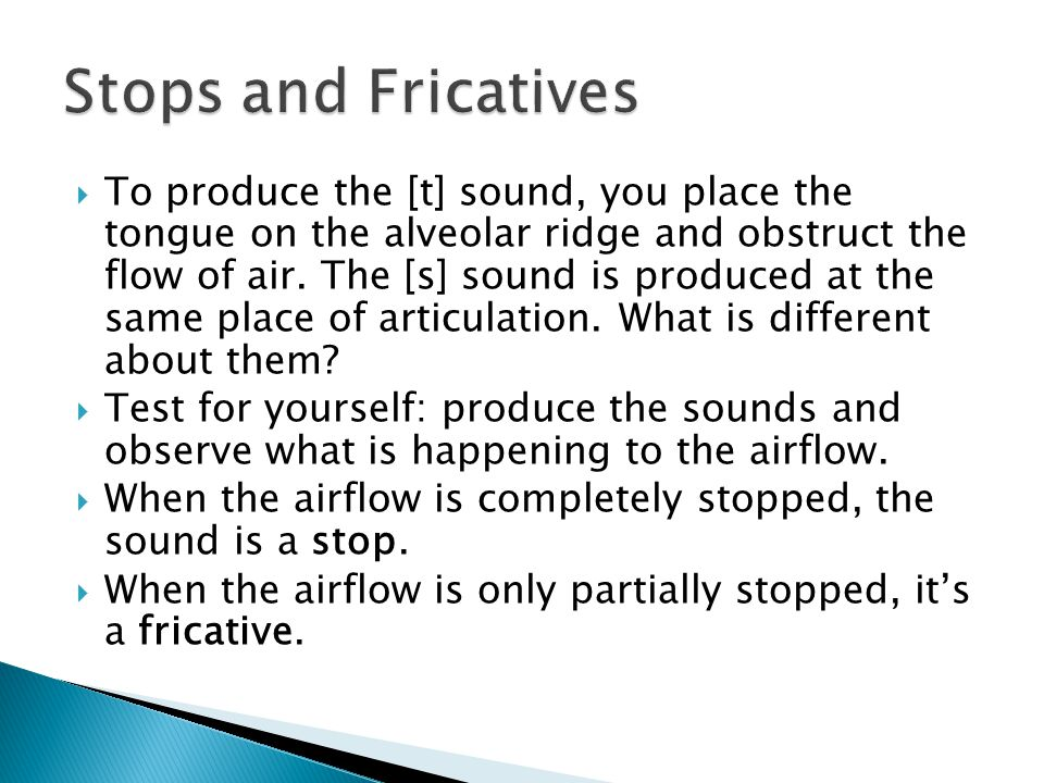  To produce the [t] sound, you place the tongue on the alveolar ridge and obstruct the flow of air.
