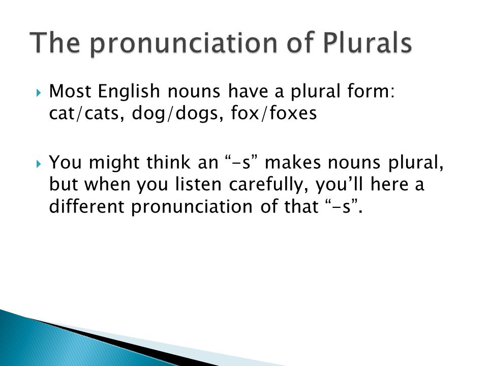  Most English nouns have a plural form: cat/cats, dog/dogs, fox/foxes  You might think an -s makes nouns plural, but when you listen carefully, you'll here a different pronunciation of that -s .