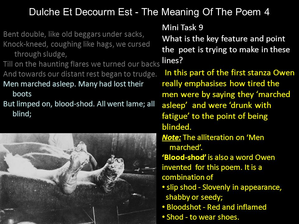 Dulche Et Decourm Est - The Meaning Of The Poem 4 Mini Task 9 What is the key feature and point the poet is trying to make in these lines? In this par