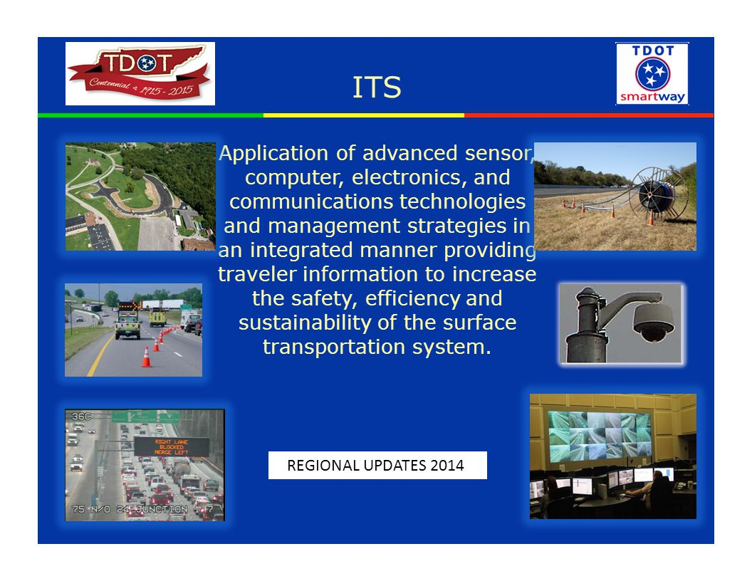 ITS Application of advanced sensor, computer, electronics, and communications technologies and management strategies in an integrated manner providing traveler information to increase the safety, efficiency and sustainability of the surface transportation system.