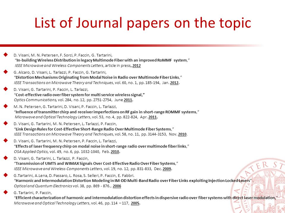 List of Journal papers on the topic  D. Visani, M.